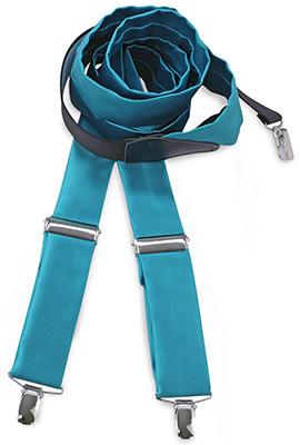 Bretels stropdassenstof turquoise
