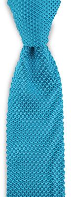 Stropdas gebreid zijde turquoise