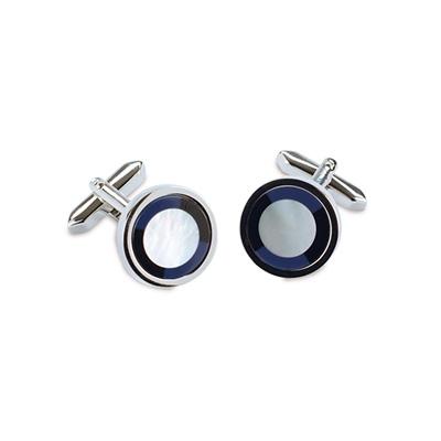 Manchetknopen Cirkel blauw / zwart